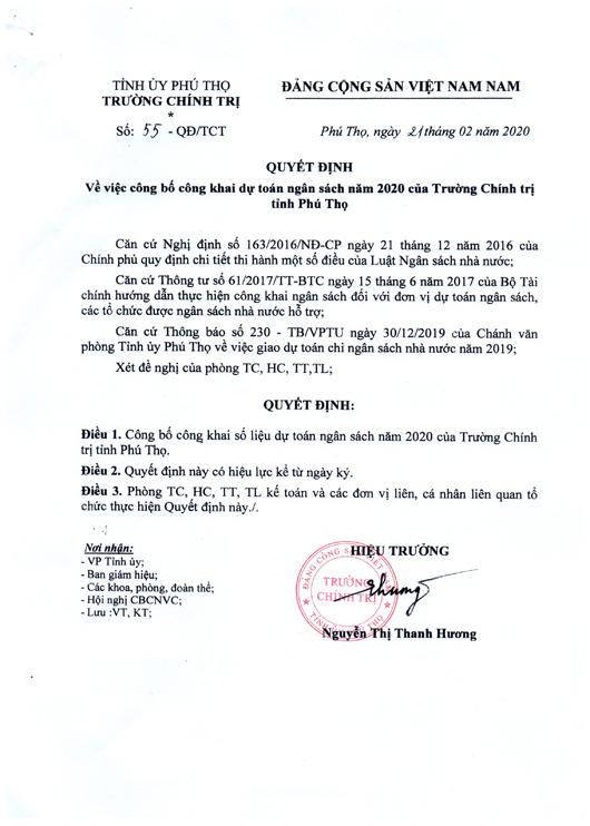 Quyết định về việc công bố công khai dự toán ngân sách năm 2020 của Trường Chính trị tỉnh Phú Thọ